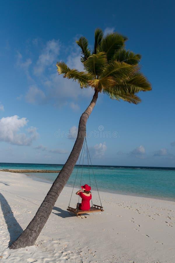 Mujer hermosa en un oscilaci?n atado a una palma Agua cristalina de Maldivas como fondo imagenes de archivo