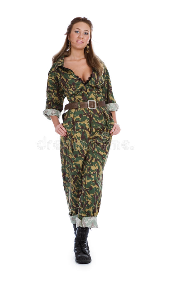 Mujer hermosa en uniforme militar fotos de archivo