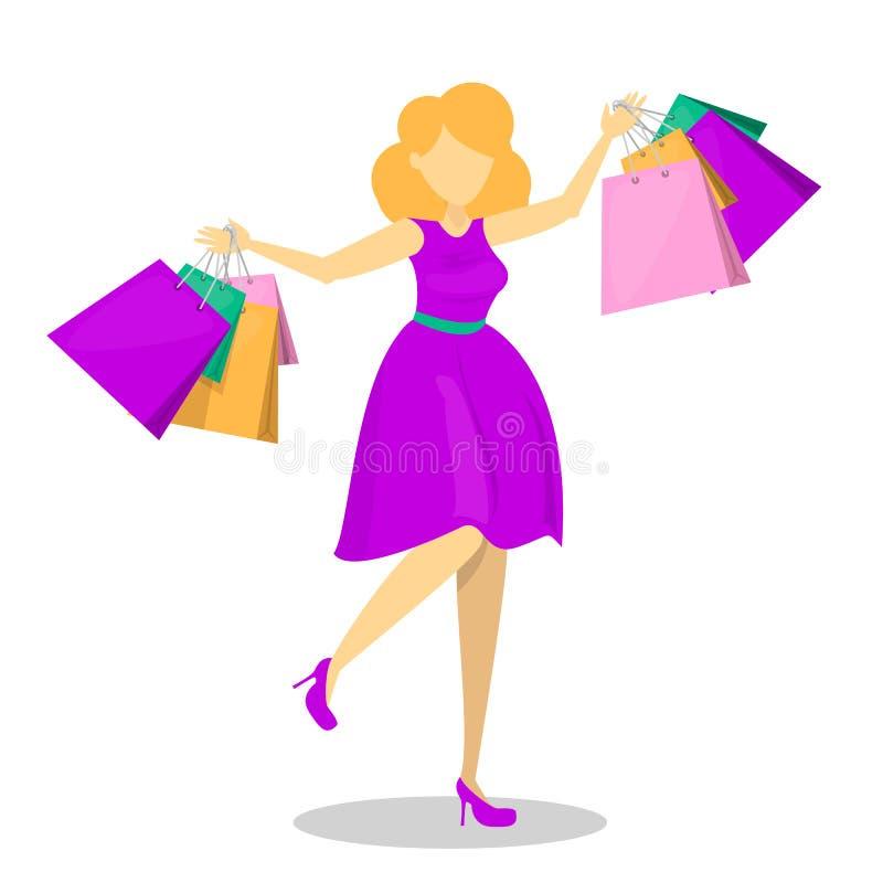 Mujer hermosa feliz en vestido púrpura con compras libre illustration