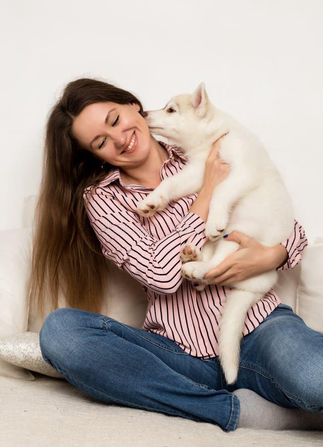 Mujer hermosa feliz que abraza el perro esquimal del perrito la muchacha que se sienta en un sofá y un perrito la lame imagenes de archivo