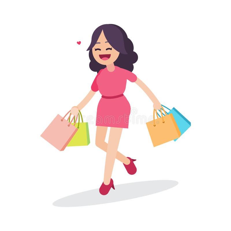 Mujer hermosa feliz que camina con los bolsos de compras, carácter, ejemplo del vector stock de ilustración