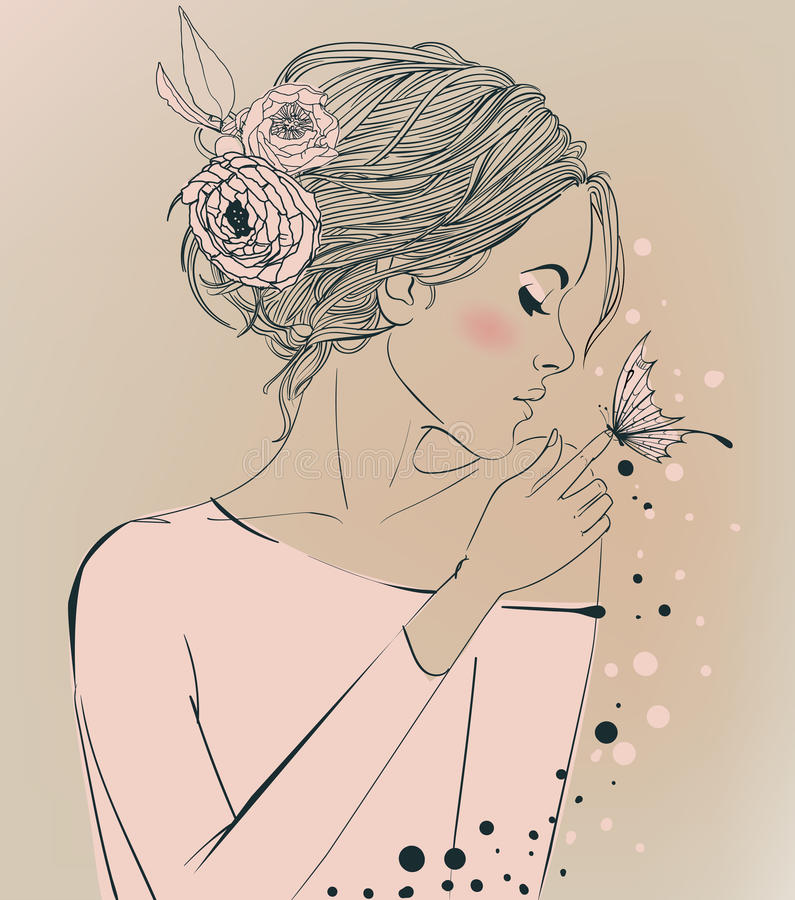 Mujer hermosa joven con las flores stock de ilustración