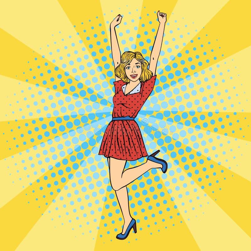 Mujer hermosa joven con las manos aumentadas para arriba Arte pop libre illustration