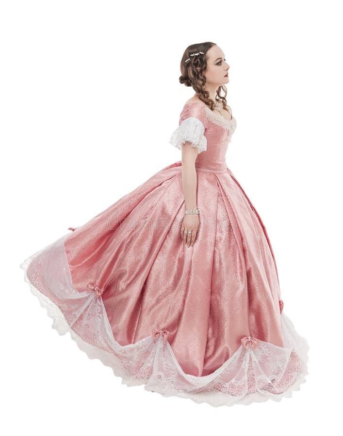 Mujer hermosa joven en el vestido medieval aislado imágenes de archivo libres de regalías