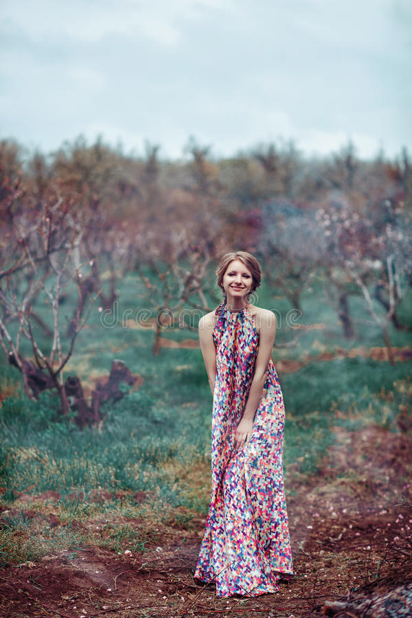 Mujer hermosa joven en un vestido rosado en el cuento de hadas del bosque brumoso, fantasía, leyenda imagen de archivo