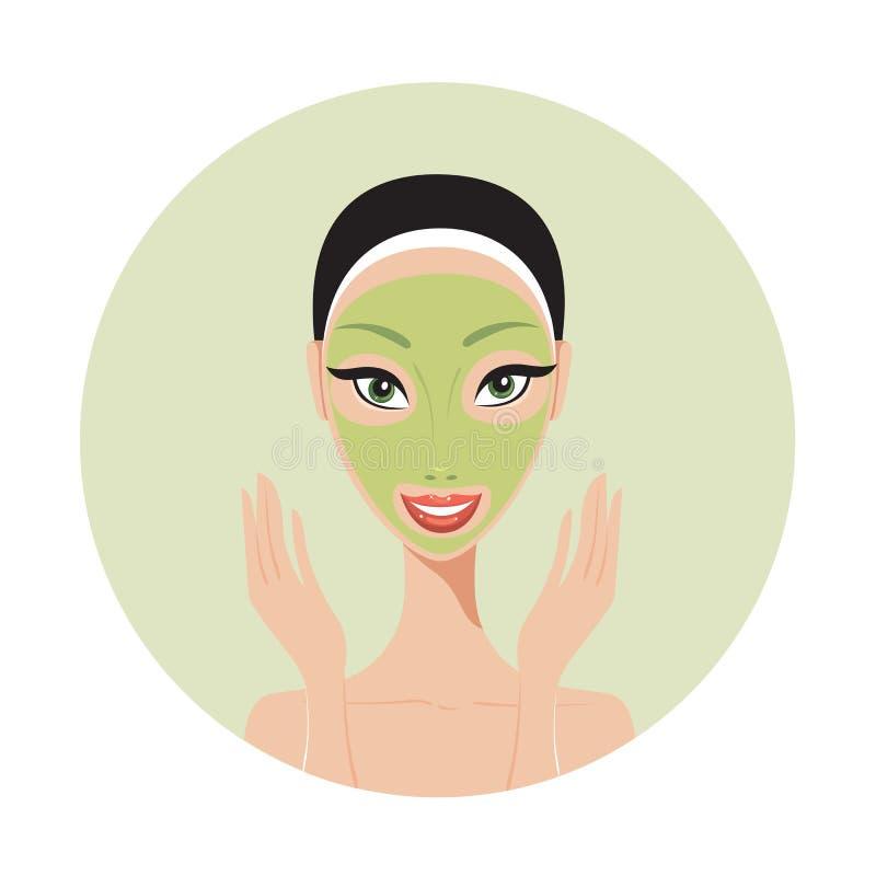 Mujer hermosa joven que aplica concepto del cuidado de piel del balneario de la mascarilla stock de ilustración