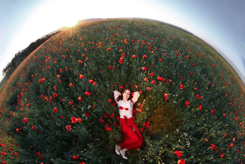 Mujer hermosa joven que miente un campo de la amapola fotografía de archivo
