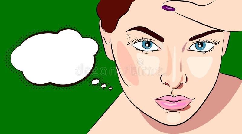 Mujer hermosa joven que piensa con speechbubble stock de ilustración