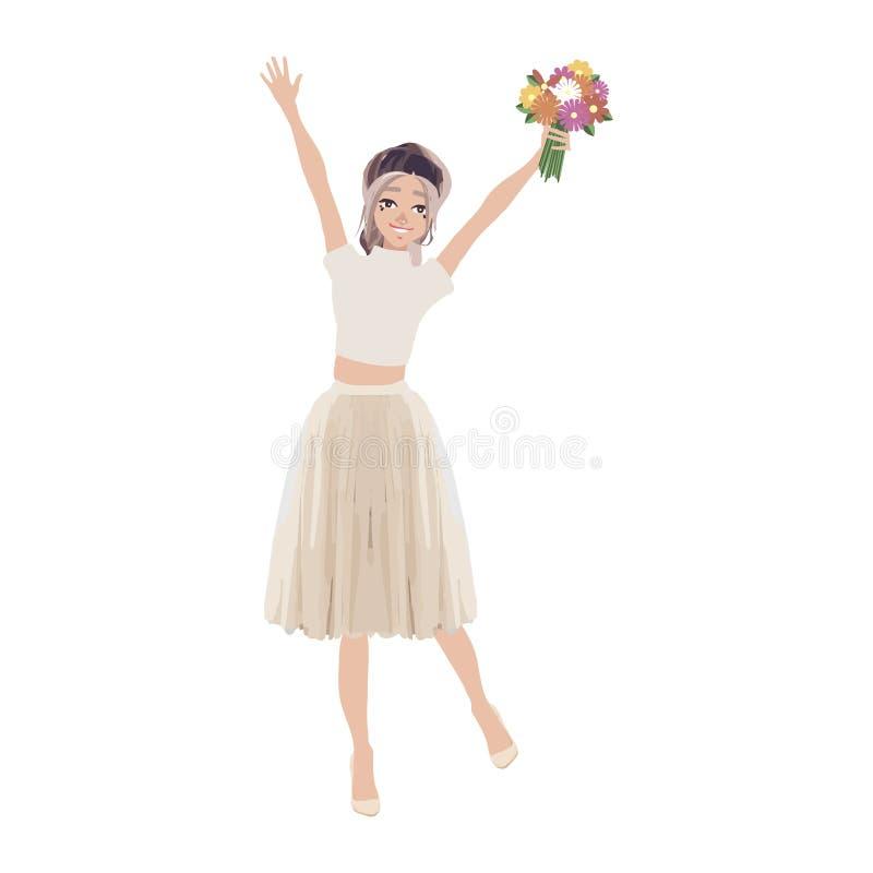 Mujer hermosa, muchachas, colocación de los amigos, sosteniendo manojos de flores, ejemplo del vector de la historieta aislado en stock de ilustración