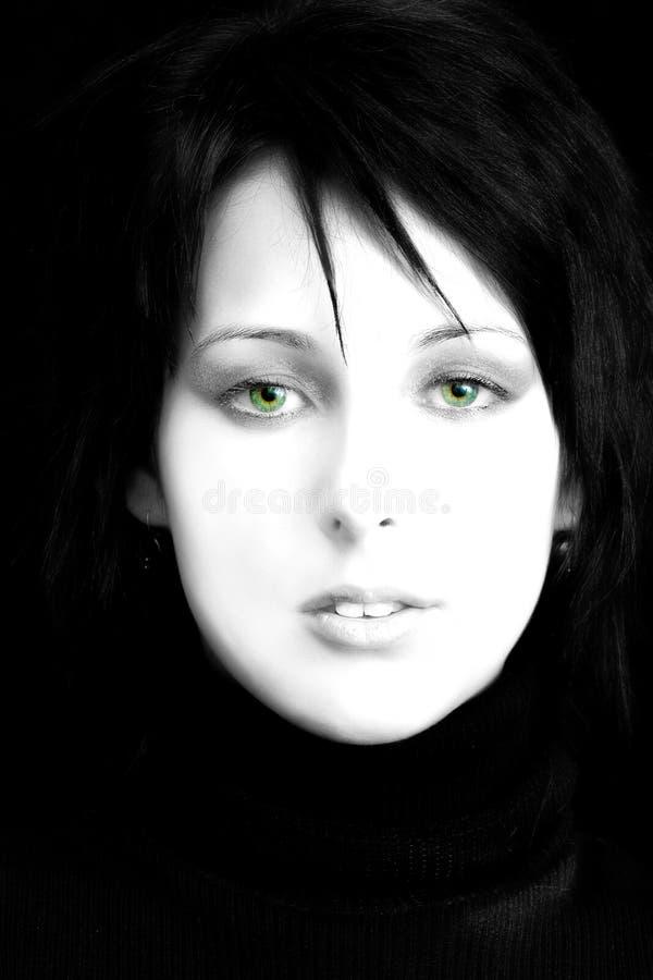 Mujer hermosa, ojos verdes imagenes de archivo