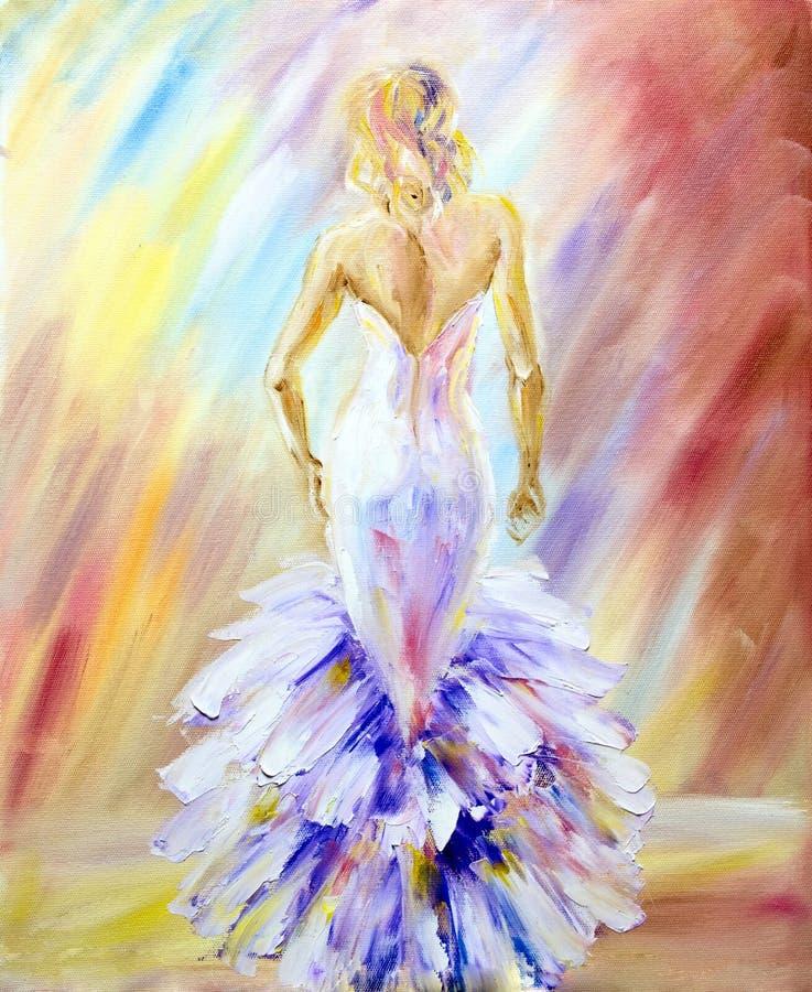 Mujer hermosa Pintura al óleo stock de ilustración