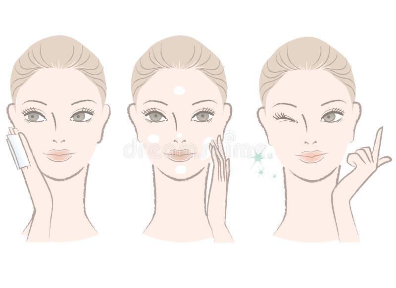Mujer hermosa que aplica la loción del skincare stock de ilustración
