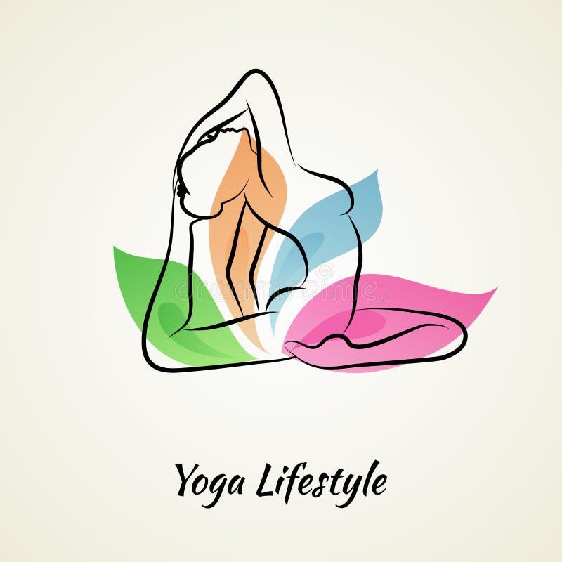 Mujer hermosa que hace yoga stock de ilustración