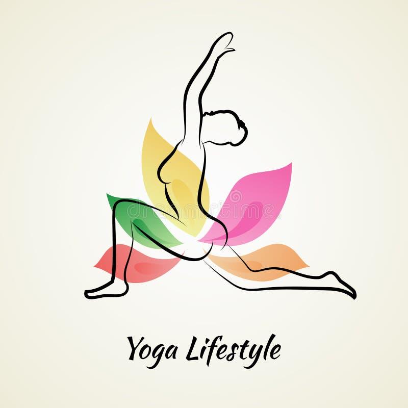 Mujer hermosa que hace yoga ilustración del vector