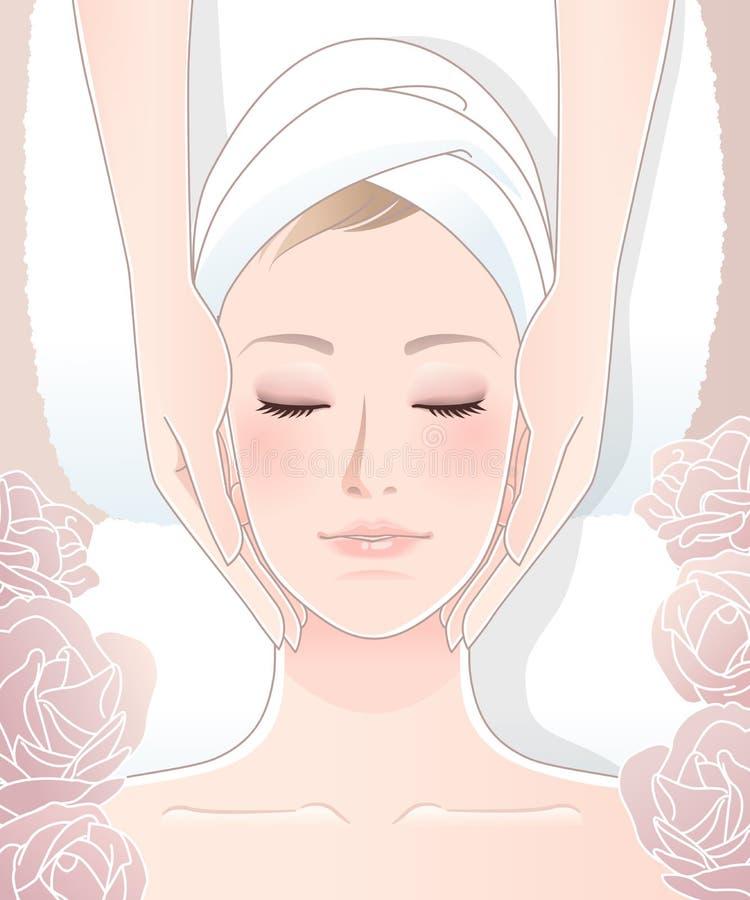 Mujer hermosa que recibe masaje facial ilustración del vector