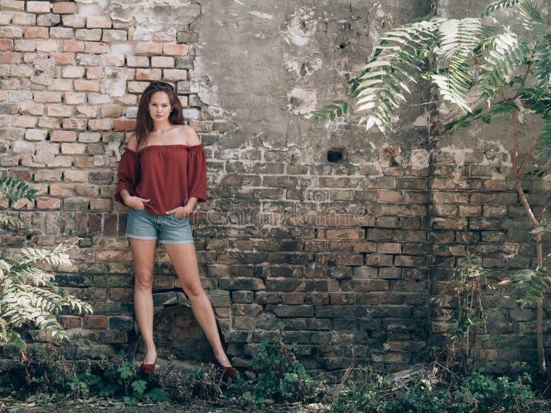 Mujer hermosa que se coloca al aire libre en la pared de ladrillo del rustick fotos de archivo