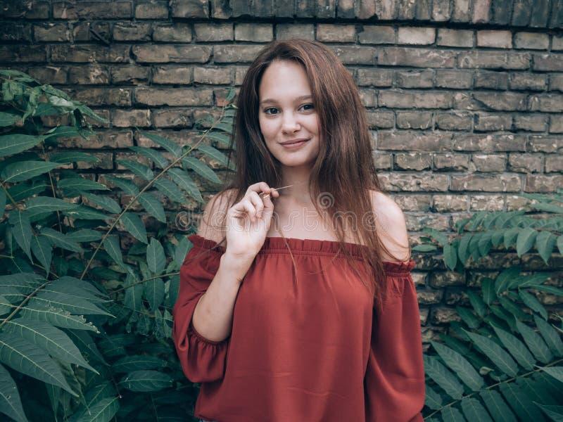 Mujer hermosa que se coloca al aire libre en la pared de ladrillo del rustick foto de archivo