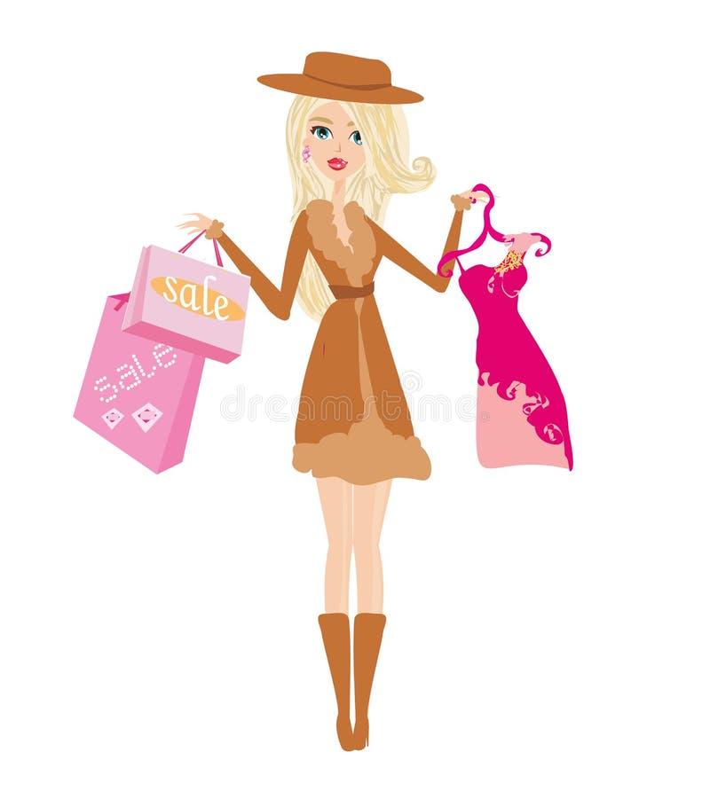 Mujer hermosa que sostiene los panieres, comprando en la estaci?n del oto?o ilustración del vector