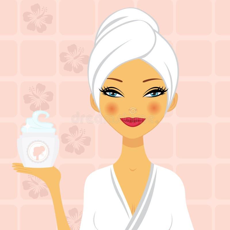 Mujer hermosa que sostiene una crema hidratante libre illustration
