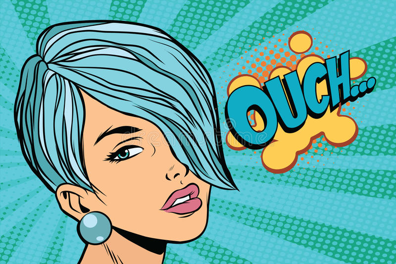 Mujer hermosa tranquila con el pelo corto, reacción escéptica ouch stock de ilustración