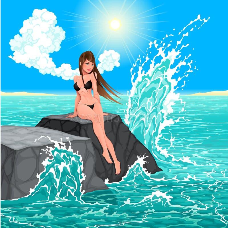 Mujer hermosa y el mar. stock de ilustración