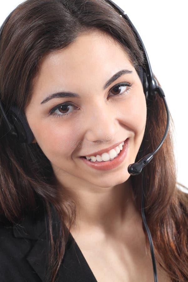 Mujer hermosa y feliz del telefonista fotografía de archivo