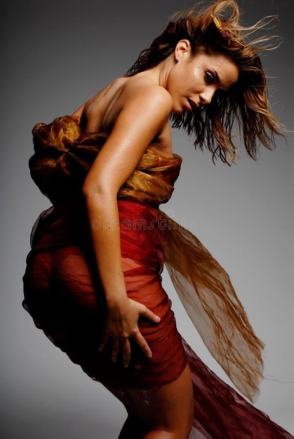 Mujer hispánica en seda imagenes de archivo