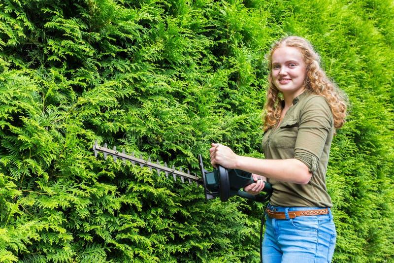 Mujer holandesa joven que sostiene el condensador de ajuste de seto en las coníferas foto de archivo
