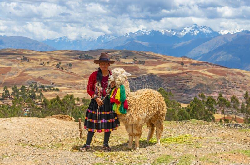 Mujer indígena quechua con la alpaca, Perú fotografía de archivo libre de regalías