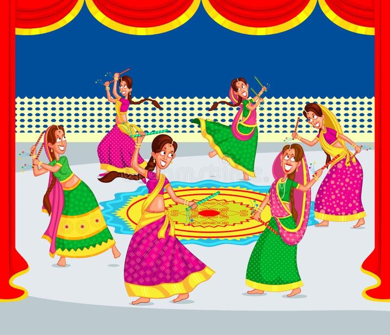 Mujer india Dandiya de ejecución ilustración del vector