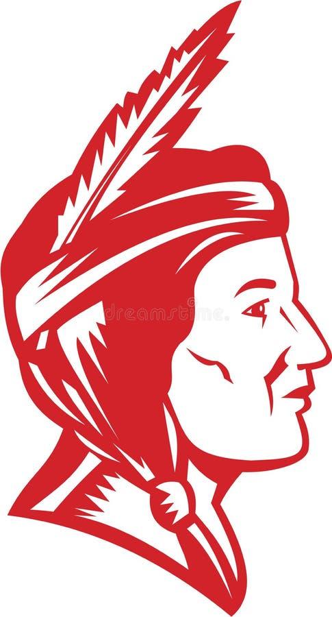 Mujer india de la india del nativo americano ilustración del vector