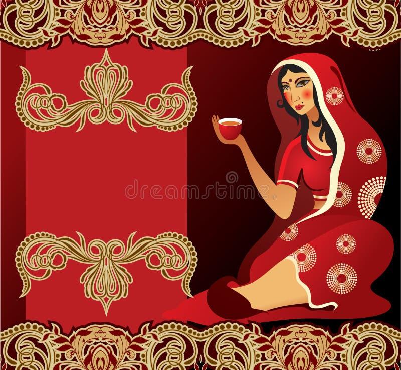 Mujer india del té ilustración del vector