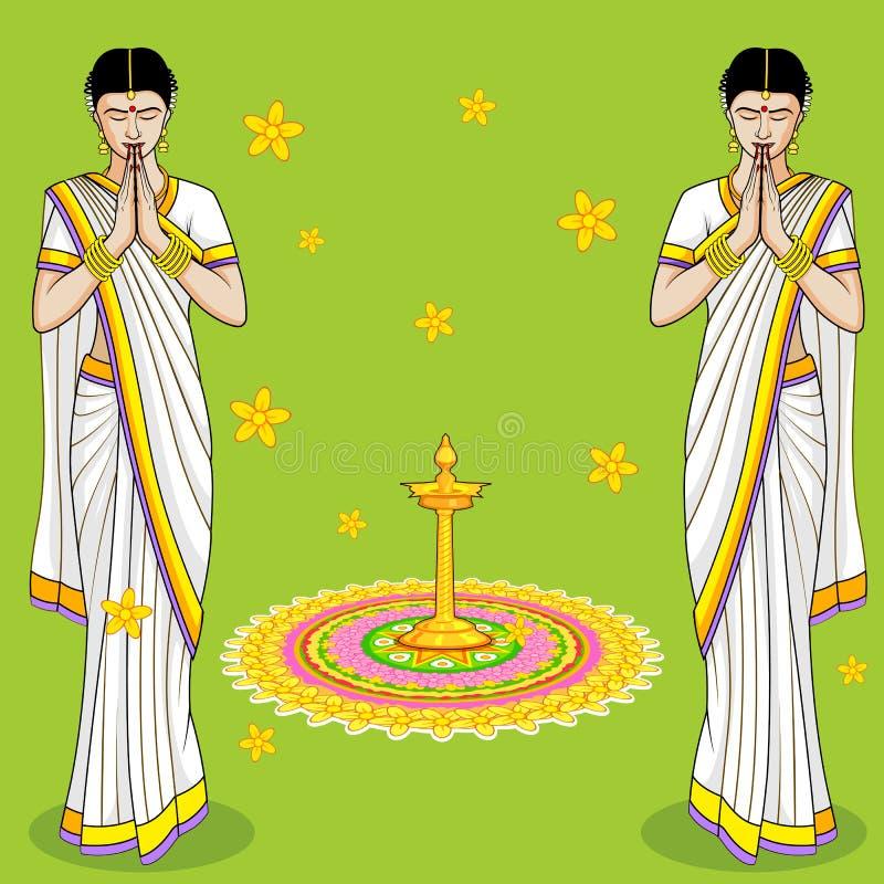 Mujer india en el gesto agradable stock de ilustración