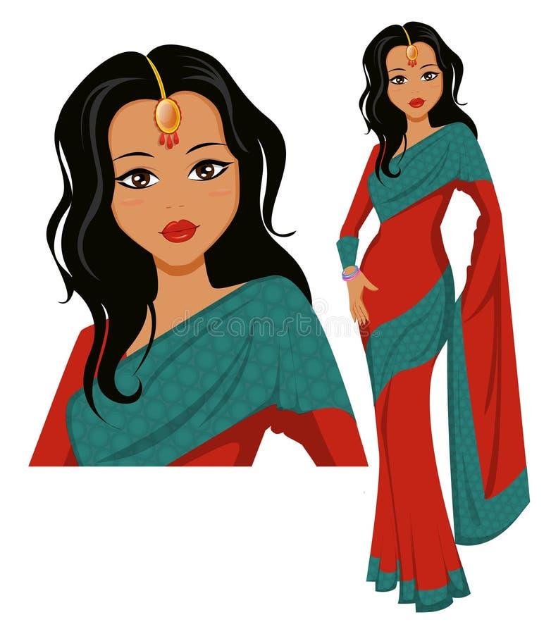 Mujer india linda que lleva una sari hermosa libre illustration