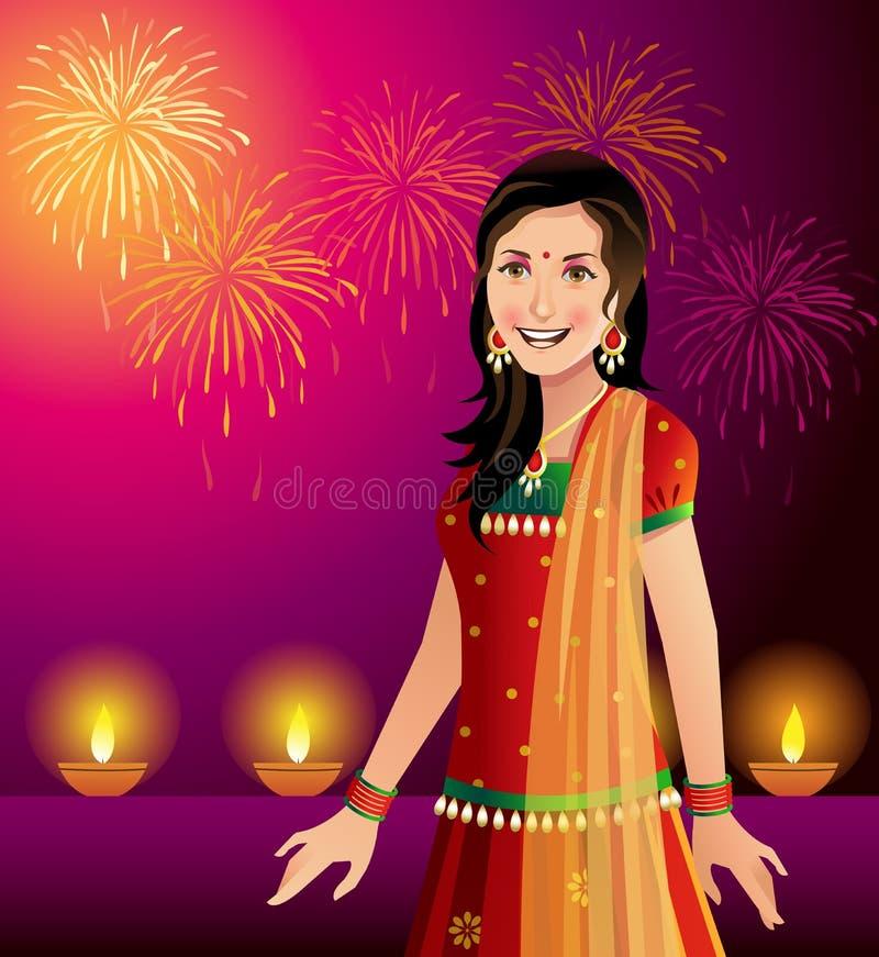 Mujer india que celebra Diwali libre illustration