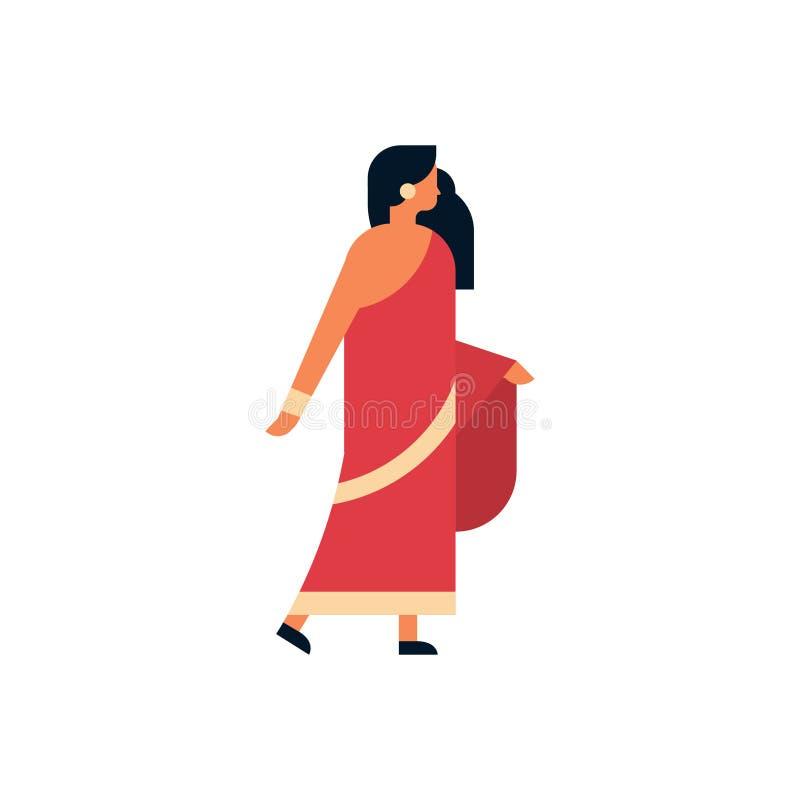 Mujer india que lleva el plano aislado integral del personaje de dibujos animados femenino hindú tradicional nacional de la ropa ilustración del vector