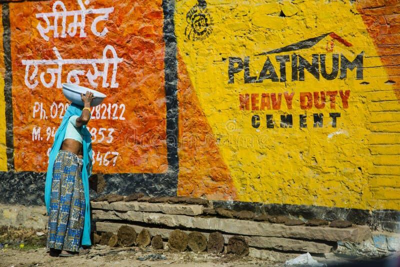 Mujer india que recoge las empanadas de la vaca del combustible imagenes de archivo