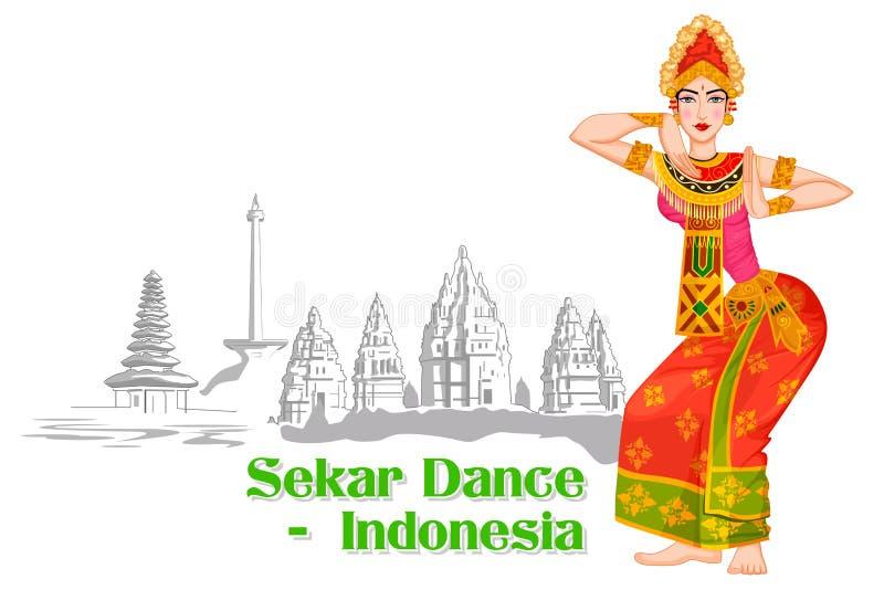 Mujer indonesia que realiza la danza de Sekar de Indonesia stock de ilustración