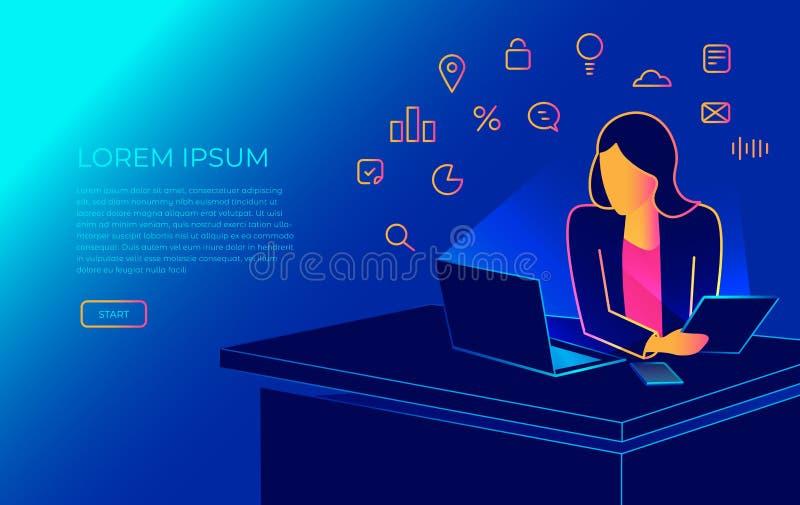 Mujer isométrica que se sienta en la oficina en el escritorio del trabajo y que trabaja con el ordenador portátil Ejemplo moderno ilustración del vector