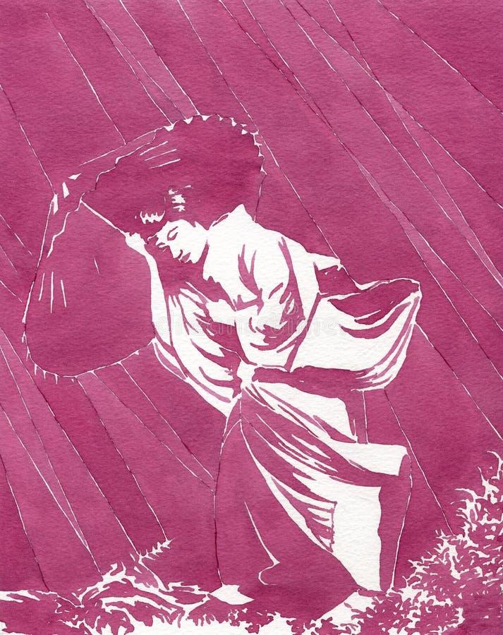 Mujer japonesa bajo la lluvia - watercolour