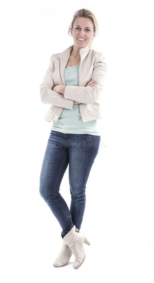 Mujer joven aislada foto de archivo