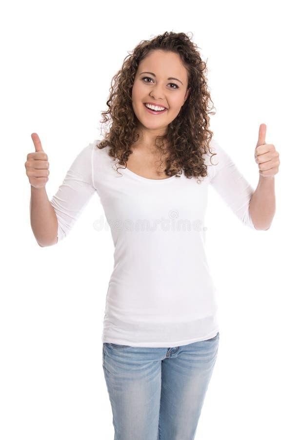 Mujer joven aislada feliz que hace el pulgar encima del gesto sobre blanco imagen de archivo libre de regalías