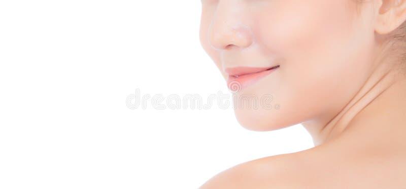 Mujer joven asiática hermosa con los labios frescos limpios de la piel fotos de archivo libres de regalías