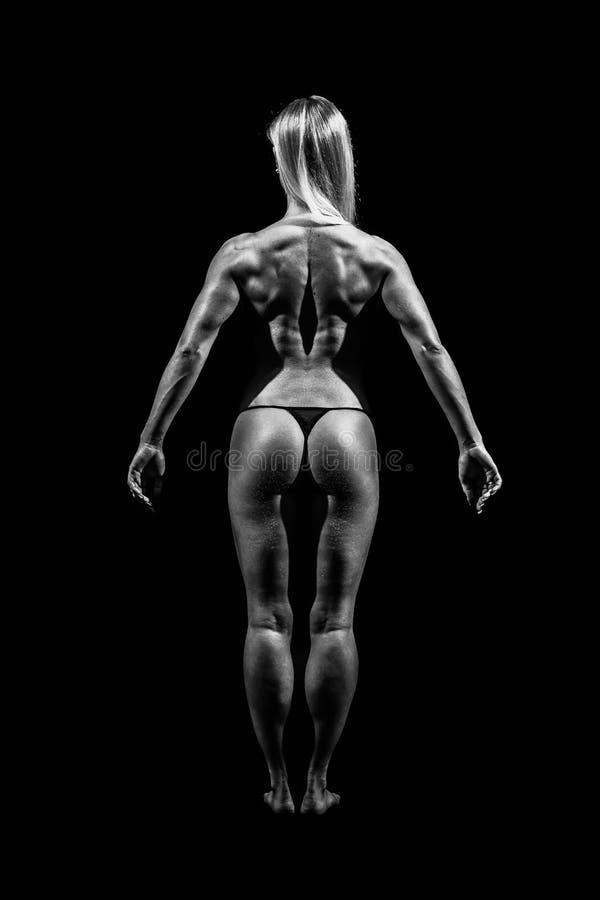 Mujer joven atlética que muestra los músculos de la parte posterior y de las manos foto de archivo