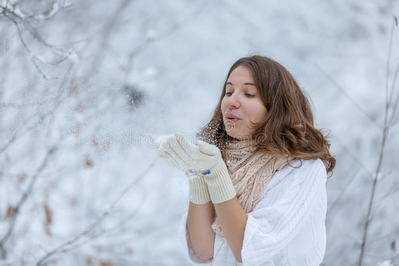 Mujer joven atractiva en el invierno al aire libre fotografía de archivo libre de regalías
