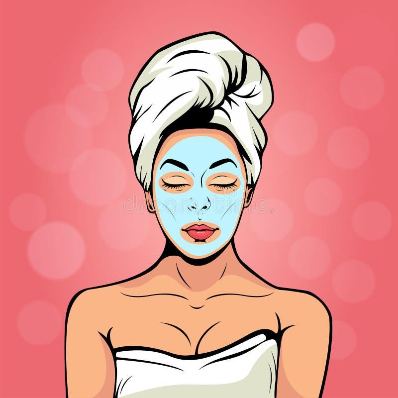 Mujer joven atractiva en toalla de baño con la máscara cosmética en su cara Estallido Art Vector Illustration stock de ilustración