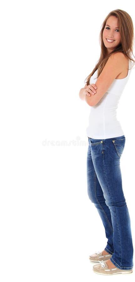 Mujer joven atractiva en vista lateral imagen de archivo