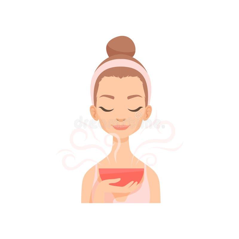 Mujer joven atractiva que cuida para su cara con el vapor, ejemplo facial del vector del procedimiento del tratamiento stock de ilustración