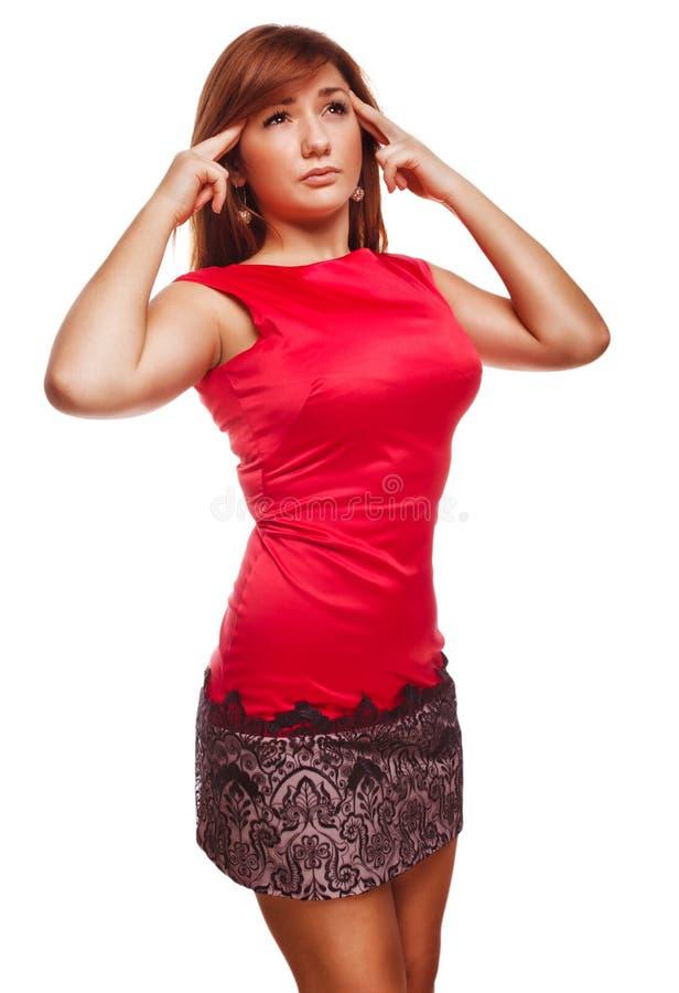 Mujer joven bajo dolor de la jaqueca del dolor de cabeza de la tensión foto de archivo libre de regalías