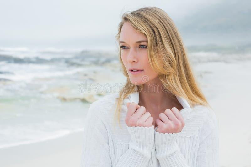 Mujer joven casual contemplativa en la playa fotos de archivo